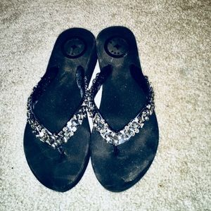 NWOT BCBG Black Wedge Sandals with Silver Sparkle